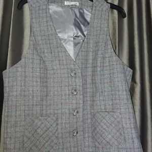 Pendleton vest XL womens gray plaid 100% wool